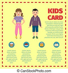 Yellow kids card infographic template