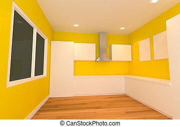 yellow kitchen room