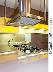 Yellow kitchen stove