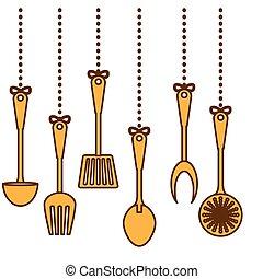 yellow kitchen utensils icon image