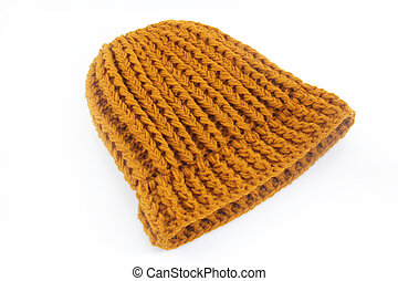 Yellow knitted wool hat isolated on white background