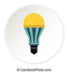 Yellow lamp icon, flat style - Yellow lamp icon. Flat...