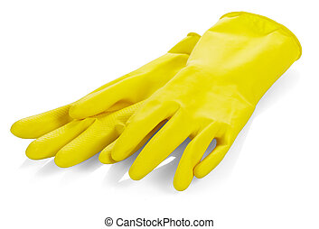 Yellow latex gloves - A pair of yellow latex gloves on white...