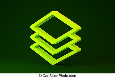 Yellow Layers icon isolated on green background. Minimalism concept. 3d illustration 3D render
