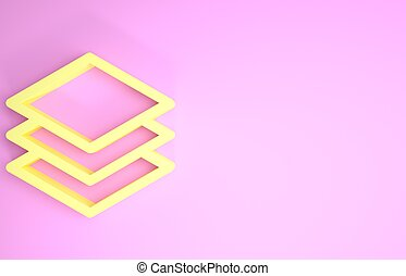 Yellow Layers icon isolated on pink background. Minimalism concept. 3d illustration 3D render