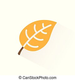 Yellow leaf icon with shadow. Flat vector illustration