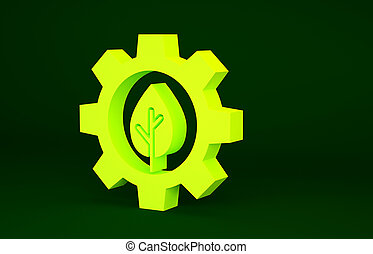 Yellow Leaf plant ecology in gear machine icon isolated on green background. Eco friendly technology. World Environment day label. Minimalism concept. 3d illustration 3D render