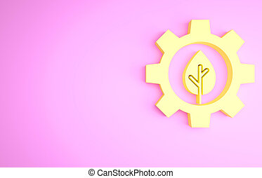 Yellow Leaf plant ecology in gear machine icon isolated on pink background. Eco friendly technology. World Environment day label. Minimalism concept. 3d illustration 3D render