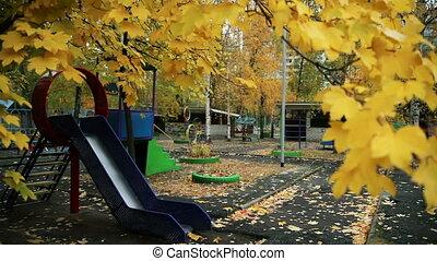 Yellow Leaves on Trees in Autumn. Autumn Children's...