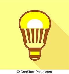 Yellow led bulb icon, flat style