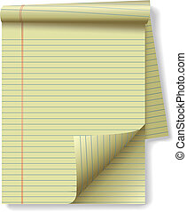 Pages of yellow legal ruled notebook pad paper - page curl flip and drop shadows. Easily tilt or otherwise edit it.
