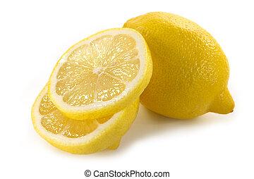 Yellow lemon and lemon slices isolated