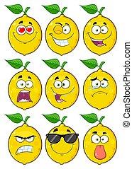 Yellow Lemon Fruit Cartoon Emoji Face Character Set 1. Collection