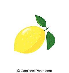 Yellow lemon icon, cartoon style