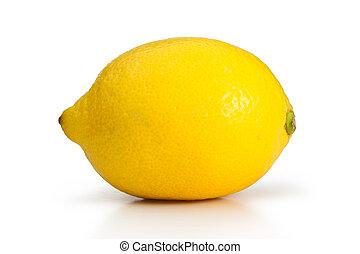 Yellow lemon on a white background
