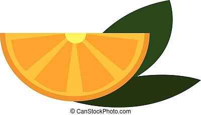 Yellow lemon slice with green leaves vector illustration on white background