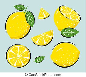 Yellow lemon with leaves vector illustration