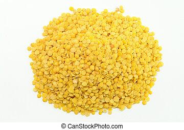 Yellow Lentils on white