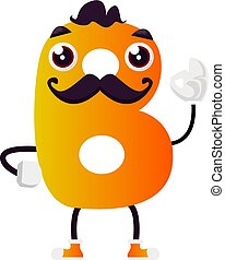 Yellow letter B with mustache vector illustration on white background