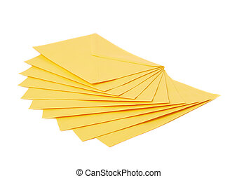 Yellow letter envelope isolated - Stack of multiple yellow...