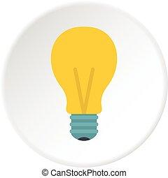 Yellow light bulb icon circle