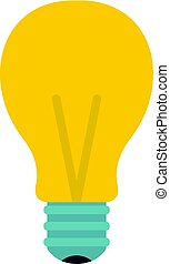 Yellow light bulb icon isolated