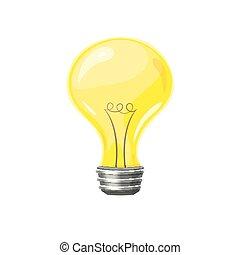 Yellow light bulb, vector illustration