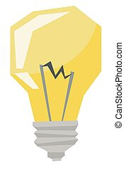 Yellow light bulb vector illustration.