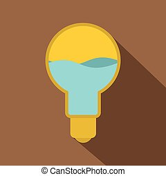 Yellow light bulb with blue water inside icon