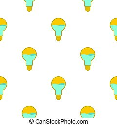 Yellow light bulb with blue water inside pattern