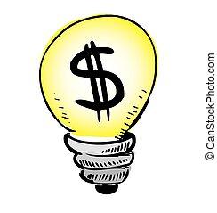 Yellow light bulb with dollar symbol inside