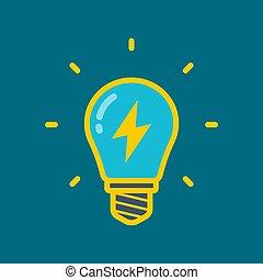 yellow light bulb with lightning inside