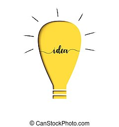 Yellow light bulb with text idea inside