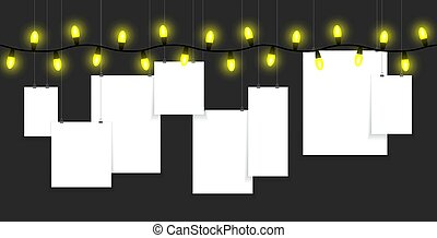 Yellow light bulbs with paper hanging
