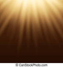 Yellow light effect, sun rays, beams on brown background.