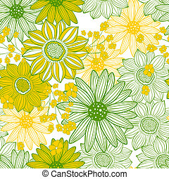 yellow light green floral seamless pattern
