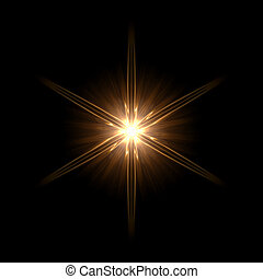yellow light hexagram - abstract lens flare light hexagram...