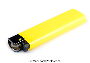 Yellow lighter isolated on white background
