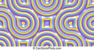 Yellow Lilac Violet Seamless Truchet Tilling Background. Geometric Mosaic Connections Texture. Tile Circles Labyrinth Backdrop.