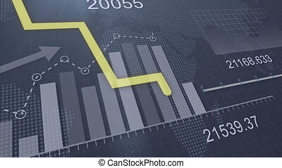 Yellow line graph and different charts and graphs on the background of dynamic numbers and a map of the world from dots. 4k. 3d render.