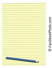 yellow lined paper and pencil isolated on white background