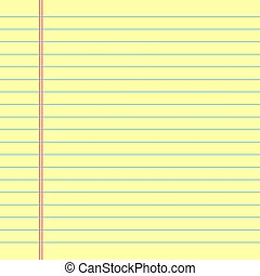 Yellow lined paper. Vector illustration