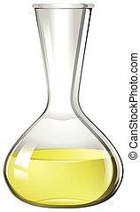 Yellow liquid in glass beaker