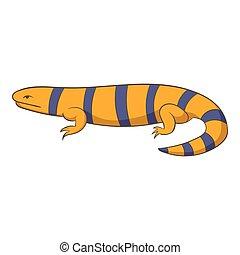 Yellow lizard icon, cartoon style