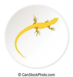 Yellow lizard icon, flat style