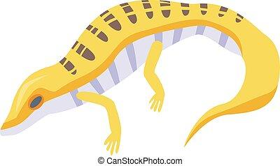 Yellow lizard icon, isometric style