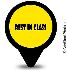 Yellow location pointer design with BEST IN CLASS text message