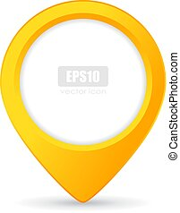 Yellow location pointer vector button