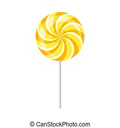 Yellow lollipop. Vector illustration on a white background.