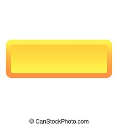 Yellow long button icon, flat style